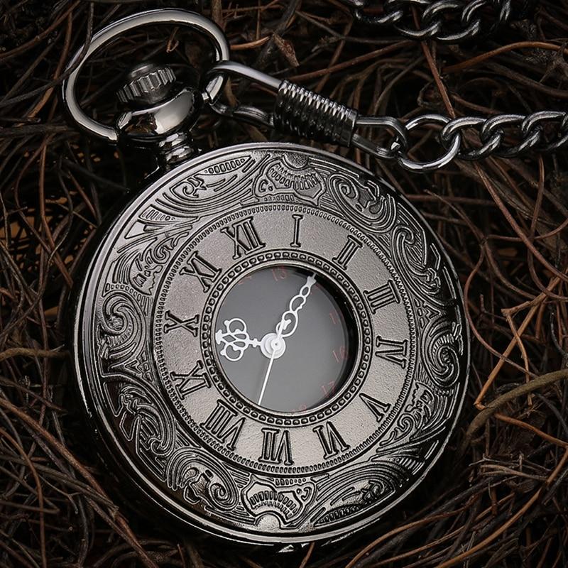 Black Roman Numerals Quartz Pocket Watch Men Women Black Hollow Case Steampunk Vintage Pendant Necklace Best Gifts for Men Women