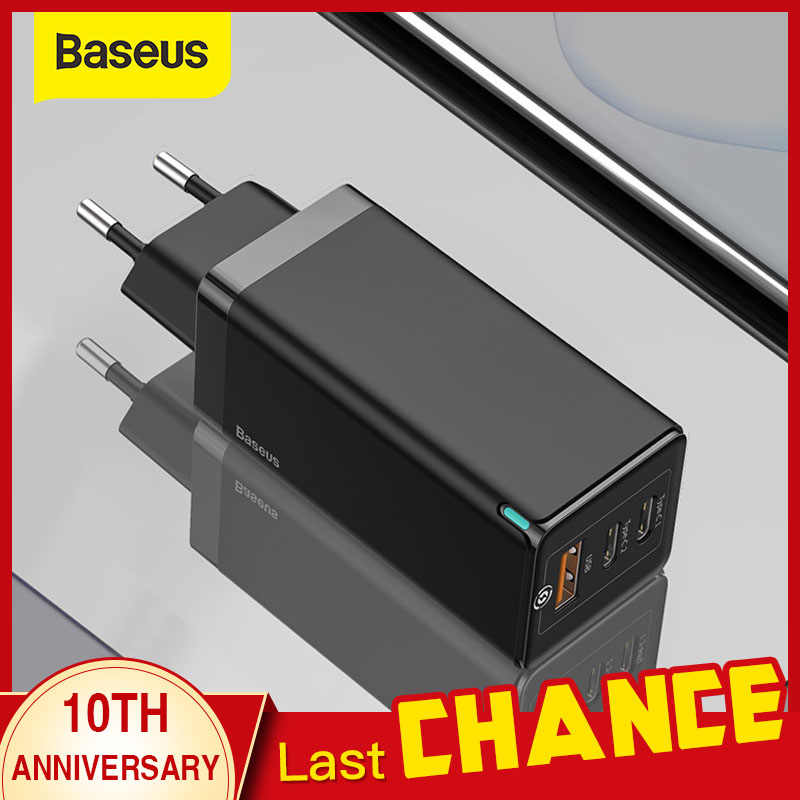 BASEUS GAN 65W USB Charger Quick Charge 4.0 3.0 ประเภท C PD Fast ชาร์จ 3 พอร์ต USB Charger QC 4.0 3.0 Charger แบบพกพา