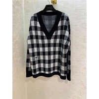 2019 herbst Winter Neue Mode V-ausschnitt plaid kaschmir pullover Pullover langarm pullover 100% kaschmir Stickerei biene