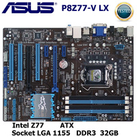 ASUS Motherboard LGA 1155 DDR3 P8Z77 V LX LGA 1155 DDR3 i3 i5 22/32nm CPU USB3.0 32GB SATA3 Intel mainboard Desktop Z77 32GB|Placas-mães| |  -