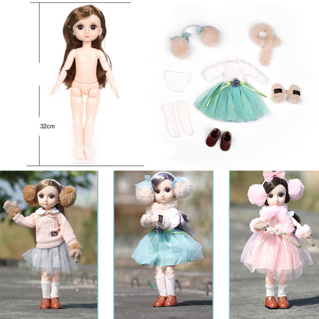 30CM BJD Doll 15 Ball Joints Bjd Dolls With Winter Outfits Dress Girl Princess Gift Make up Girls DIY BJD Toys Best Gift for Kid 5
