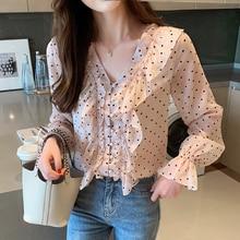 Autumn Korean Fashion Chiffon Women Blouses Pink Dot Turn-down Collar Womens Tops and Plus Size XXL Ruffles Shirts