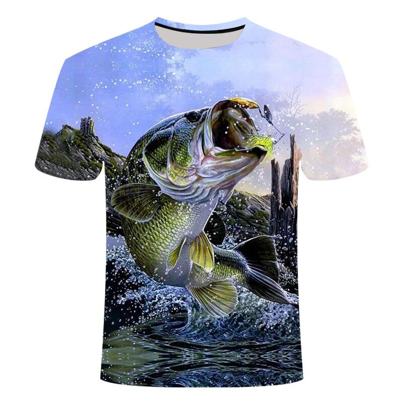 Summer The Latest 2019 Fish Outdoor T-shirt Man 3D Cool Print Fishing Men Short Tops 0collar Casual Men Fishing T-shirt