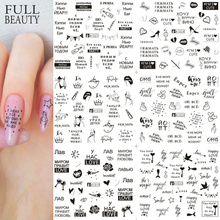 12pcs Love Letter Slider for Nail Art Decorations Sticker Water Transfer Decal Flower Leaves Girl Manicure DIY Tips CHA1513-1560 cheap Full Beauty CN(Origin) 16*25 5CM Sticker Decal Special Plastic 12 Designs In One Big Sheet Autumn Fall Pattern 100 Valentine Nail Art