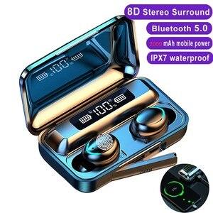 Беспроводные наушники TWS Bluetooth 5,0, беспроводные наушники 2000 мА/ч, зарядное устройство с микрофоном, спортивная водонепроницаемая гарнитура, ...