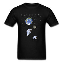 Midnite star Walking dog t-shirt male astronaut x T-shirt astronaut top moon earth printed T-shirt new astronaut new clothes(China)