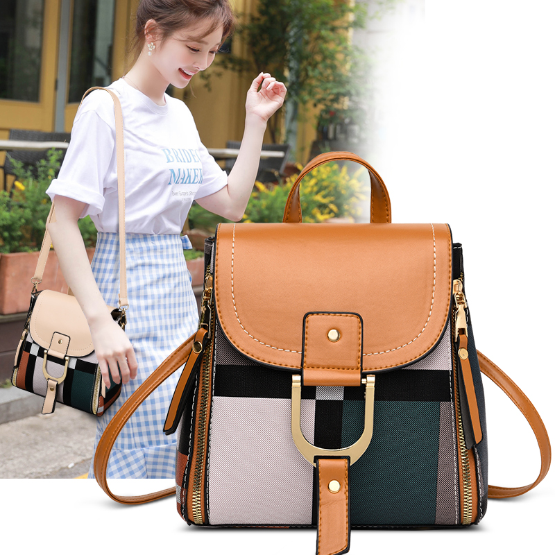 2019 Fashion Casual Leather Women Anti-theft Backpacks High Quality Rivet Decoration Plaid Multifunction School Bag Travel Bags