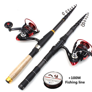 Image 1 - 1.8m 2.1m 2.4m 2.7m 3.0m Carbon Fiber Telescopic Fishing Rod Portable Spinning Rod and Spinning Reels Multifunction set