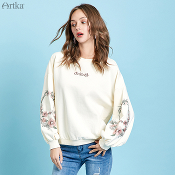 ARTKA 2019 Autumn New Women Sweatshirt Cotton Elegant Embroidery Sweatshirt Lantern Sleeve O-Neck Pullover Sweatshirt VA10496Q artka 2019 autumn new women sweatshirt 100% cotton fashion print hoodie sweatshirt o neck pullover casual hoodies women va10399q