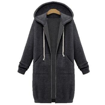 Spring 2020 Casual Hoodie Zipper Long Coat Sweatshirt Women Zip Up Loose Oversized Jacket Coat Women Hoodies Outwear Tops 17