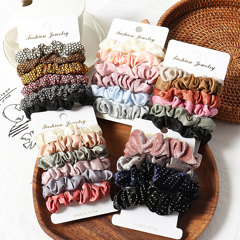 4/6 Pcs Cotton Solid Elastic Hair Band Headband For Women Girl Hair Rope Rubber Band Hair Accessories Scrunchie Pack