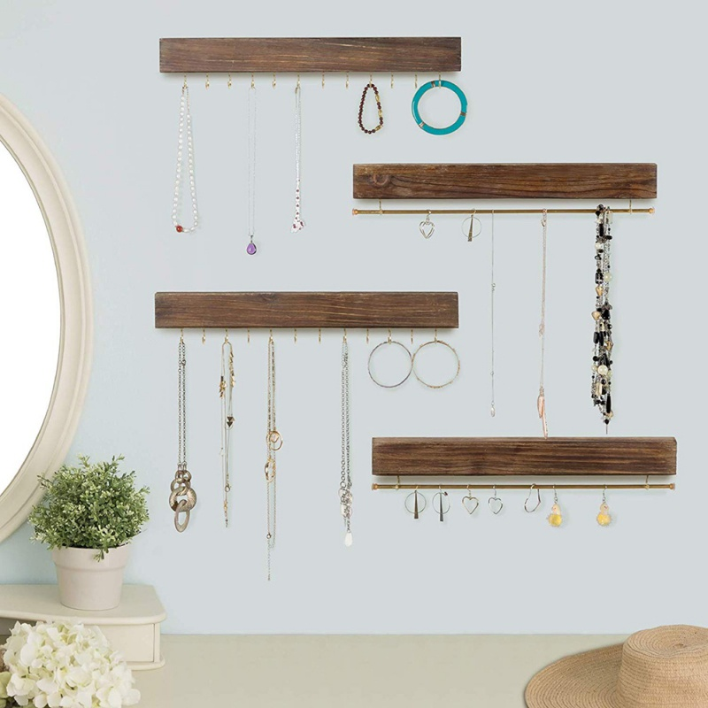 Wooden Adhesive Jewelry Wall Mount Storage Hooks Wrought Iron Jewelry Hook Holder Organizer  Necklace Earring Display Stand