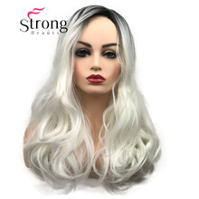 StrongBeauty Long Ombre White Blonde Wavy Synthetic Hair Wig for Women