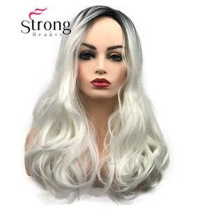 Image 1 - StrongBeauty largo Ombre blanco Rubio ondulado Peluca de pelo sintético para mujer