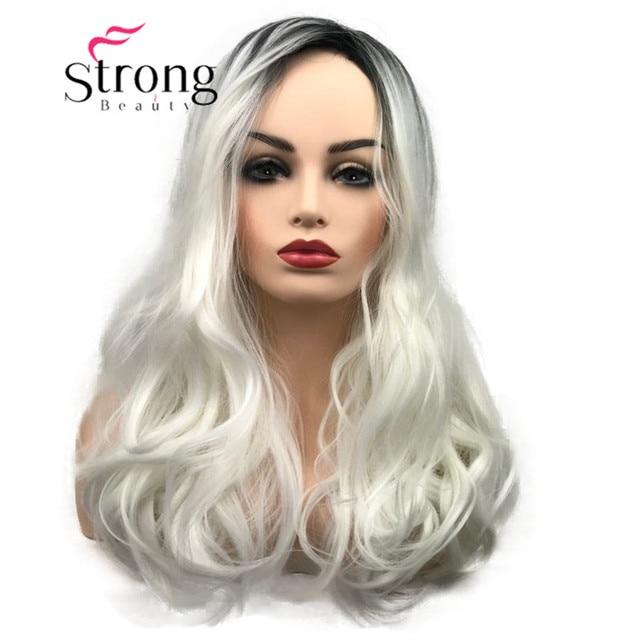 StrongBeauty largo Ombre blanco Rubio ondulado Peluca de pelo sintético para mujer