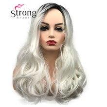 여자를위한 strongbeauty 긴 ombre 백색 금발 물결 모양 합성 머리 가발