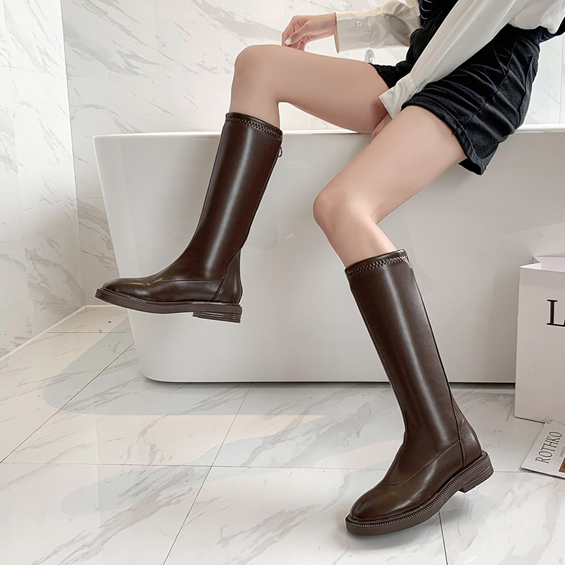 Bottes Au-Dessus du Genou,Overmal 2018 Hiver Femme Mode Retro Solide Cuir Tube Hautes Bottes Souples Chaud Talon Carr/é Boots Sauvage Chaussures Party Shoes