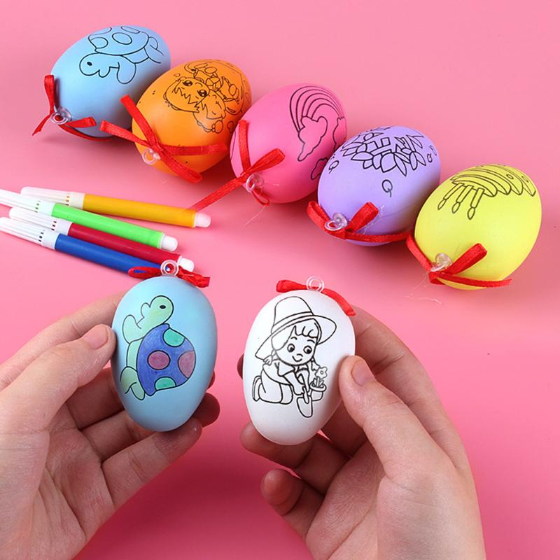 Simulation Eggs Painting Easter Egg Children DIY Craft Ornament Hand Painted Easter Decorative Toys Handmade Crafts For Kids