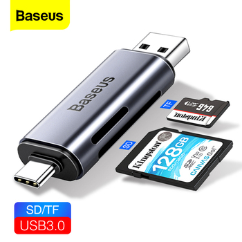 Baseus 2 in 1 Card Reader USB 3.0 &USB Type C to SD Micro SD TF Card Reader OTG Adapter Smart Memory Microsd Cardreader For iPad sd micro sd card reader micro usb otg adapter and usb 2 0 portable memory card reader for sdxc sdhc