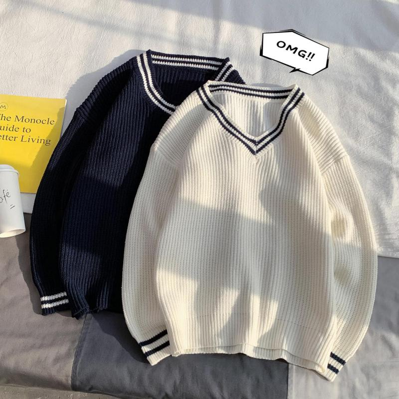 Hong Kong Style Men's Solid Color British College Style Sweater Couple V-neck Sweater Winter Sweater Men Longsleeves Men