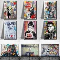 Große Größe Banksy Kunst Leinwand Poster und Drucke Lustige Affen Graffiti Street Art Wand Bilder für Modern Home Decor