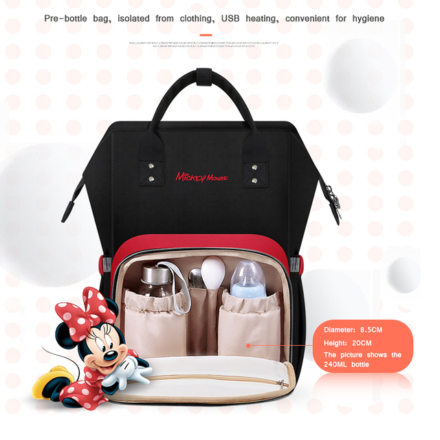 Disney USB Heating Diaper Bag Maternity Nappy Backpack Large Capacity Nursing Travel Backpack Heat Preservation Backpack For Mom Bags Kids