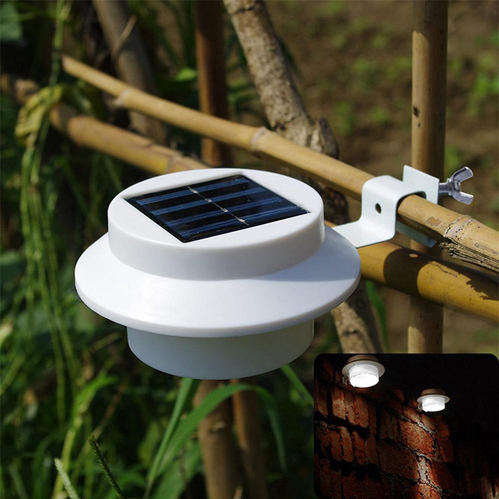 White Sun Power Smart LED Solar Gutter Night Utility Security Light For Indoor Outdoor Permanent Fence Garden Walkways Stairs