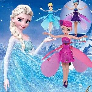Flyings luminosa criança princesa bonito bonecas de fadas brinquedo rc indução infravermelha zangão helicóptero rc voar quadcopter zangão crianças brinquedos