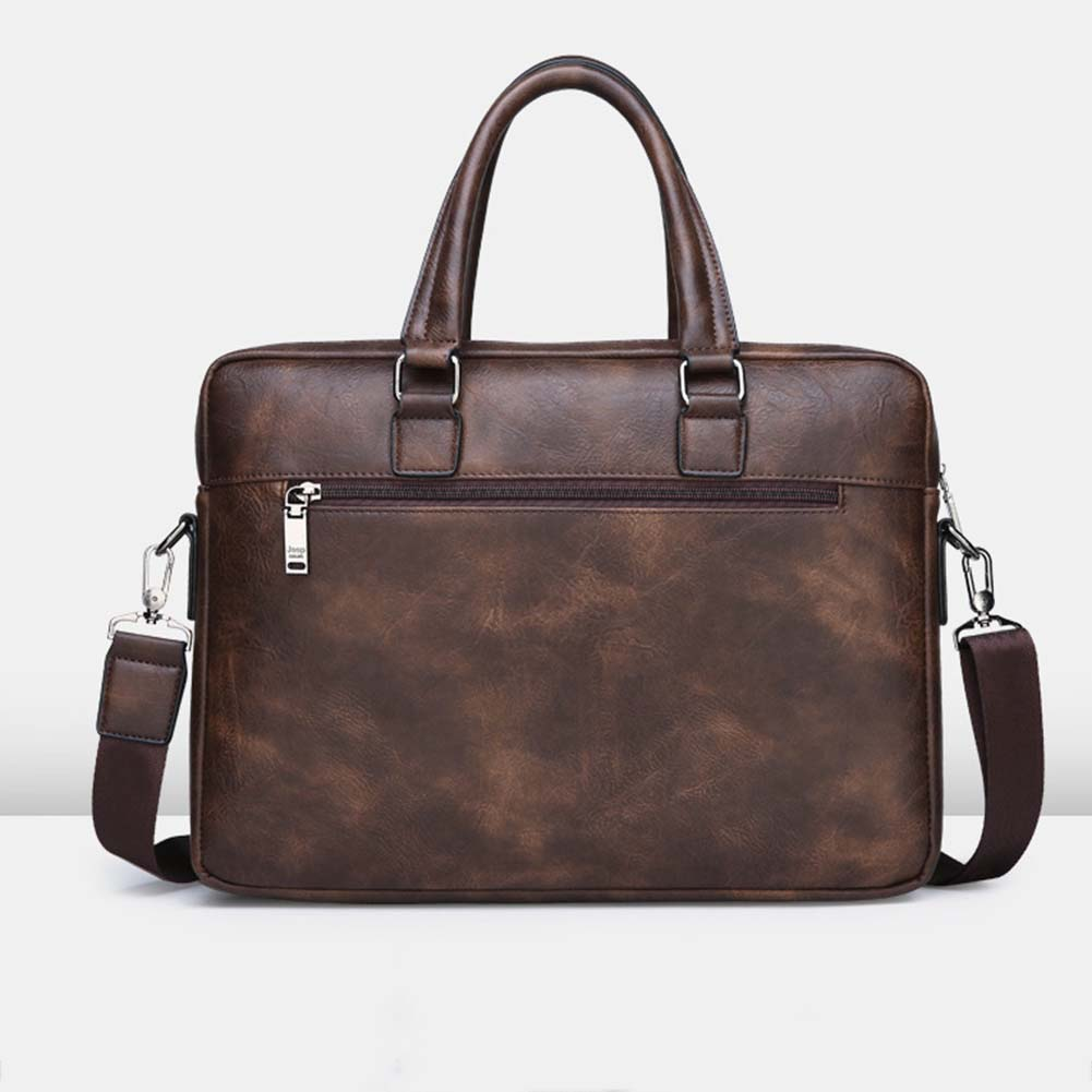 DIHOPE Retro Men Solid Color Bag Faux Leather Briefcase Large Capacity Tote Shoulder Bag Casual Business Laptop Briefcase