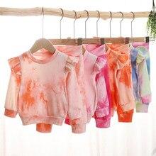 1-4y da criança dos miúdos do bebê meninas outono roupas infantis meninas com nervuras de malha tie dye print sweatshirts + bowknot calças compridas fatos de treino