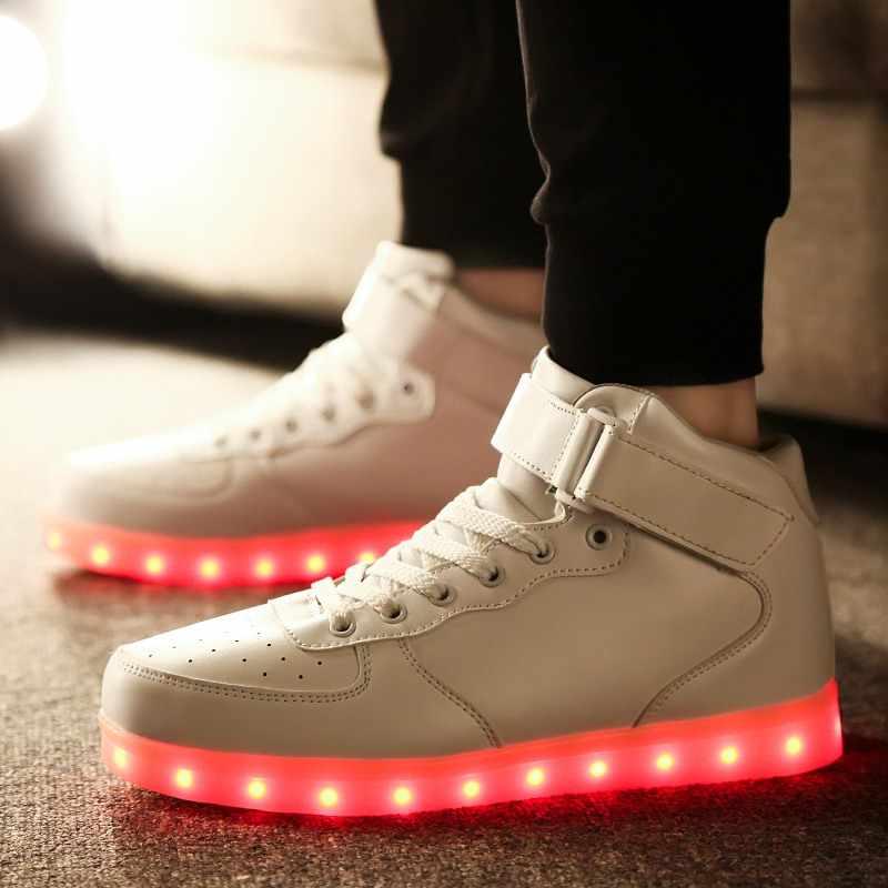 RayZing 남자의 Led 신발 USB 충전식 패션 빛나는 스 니 커 즈 남자 여자 파티 신발 성인 결혼식 신발 빛나는 신발