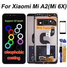 Tela lcd de 5.99 polegadas para xiaomi mi a2/6x, display touch screen digitalizador montagem de moldura para xiaomi mi 6x lcd 2160*1080