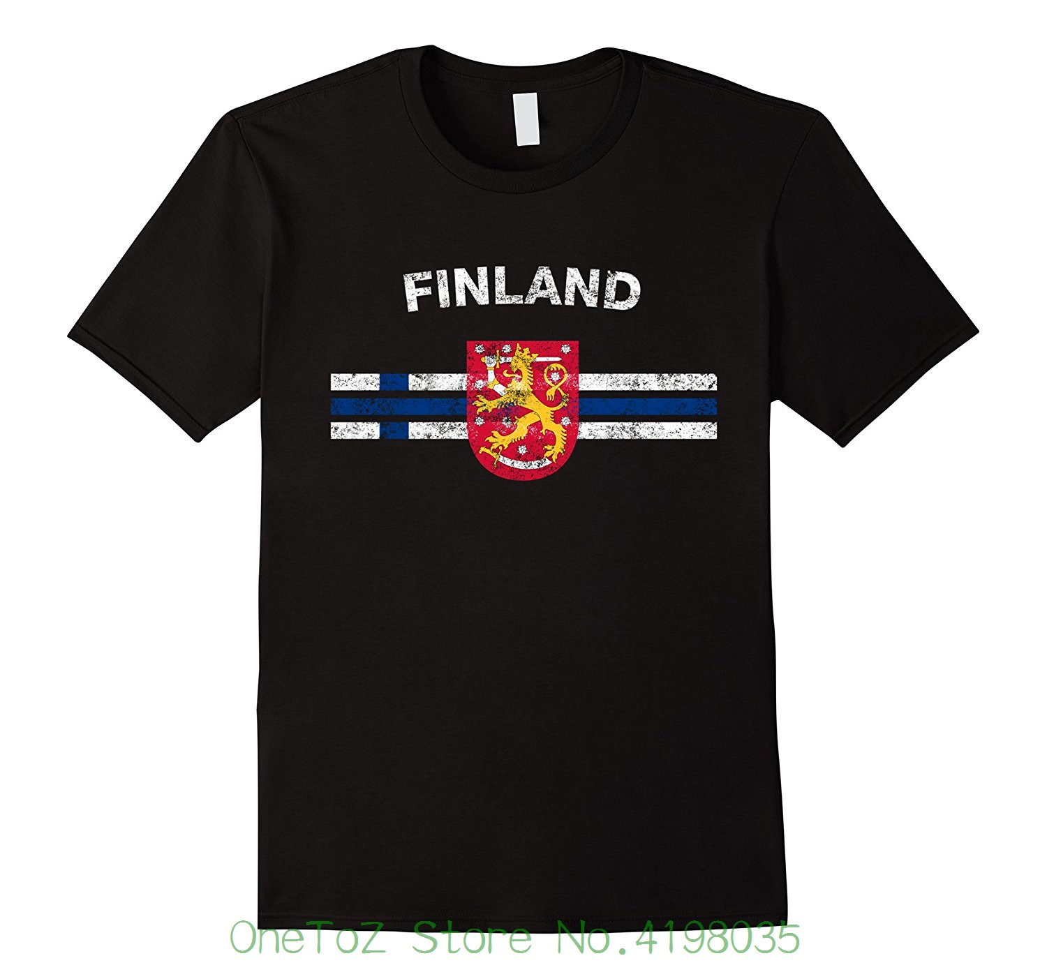 Finnish <font><b>Flag</b></font> <font><b>Shirt</b></font> - Finnish Emblem & <font><b>Finland</b></font> <font><b>Flag</b></font> <font><b>Shirt</b></font> Pure Cotton Round Collar Men image
