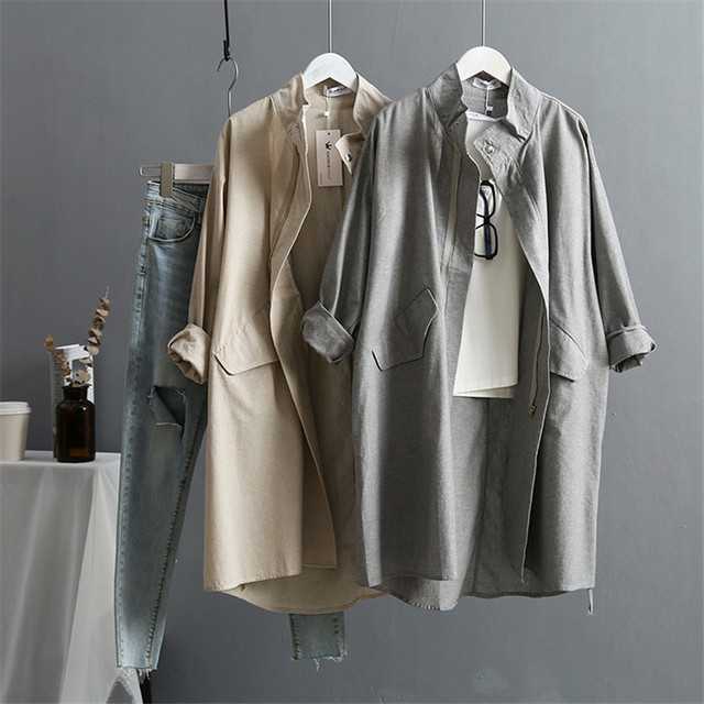 $ US $26.40 Summer Cotton Linen Women's Trench Coat 2020 New Korean Version Long Sleeved Large Plus Size Loose Women Trenchs Coats