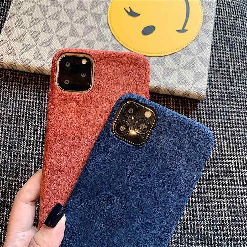 Étui pour iphone en tissu de couleur unie 11 Pro Max XS X XR 6 S 6 S 7 8 Plus couverture en tissu en peluche mince en Silicone souple iPhone11