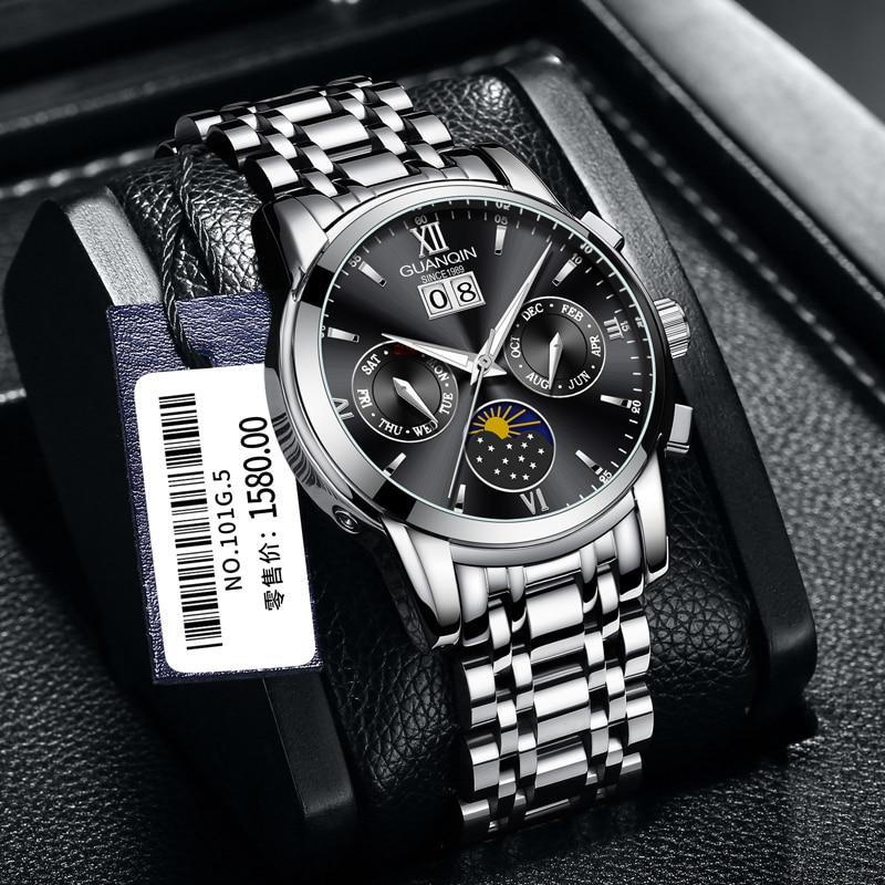 Luminous Hands Leather Strap Wristwatche