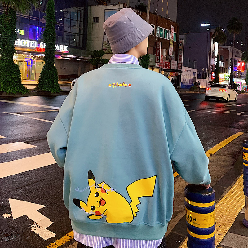 2019 New Pokemon Hoodies Korean Style Fashion Harajuku Student Streetwear Pikachu Top Sweatshirt Men