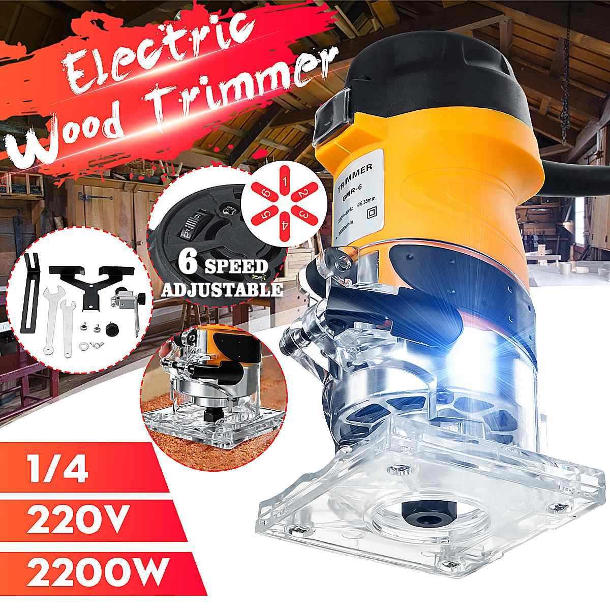 2200 w 33000 rpm carpintaria trimmer elétrico de madeira laminado roteador 6.35mm mão elétrica escultura máquina carpintaria ferramentas diy