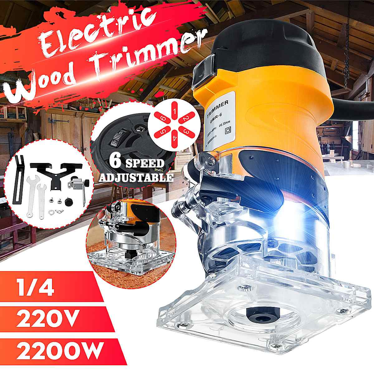 2200W 33000RPM Woodworking Electric Trimmer Wood Laminate Router 6.35mm Electric Hand Carving Machine Woodworking DIY Tools