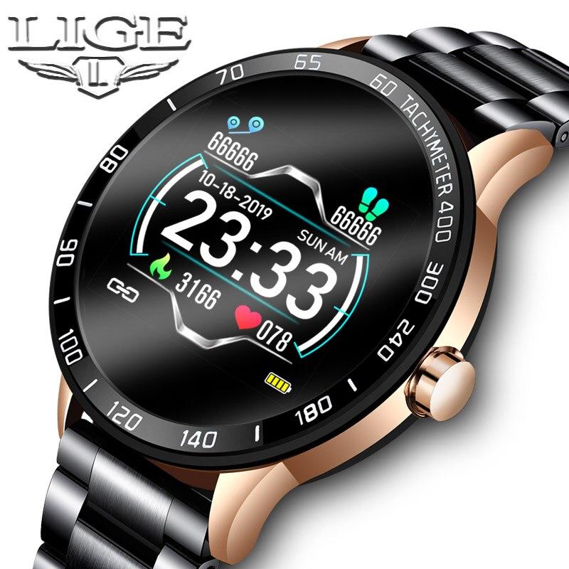 LIGE 2019 nuevo reloj inteligente para hombres, resistente al agua, ritmo cardíaco, presión arterial, Fitness Tracker, podómetro, reloj inteligente