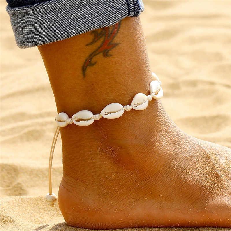 Bohemian kabuk halhal kadınlar için el yapımı deri dokuma doğal kabuk ayak takısı yaz plaj yalınayak bilezik ayak bileği bacak