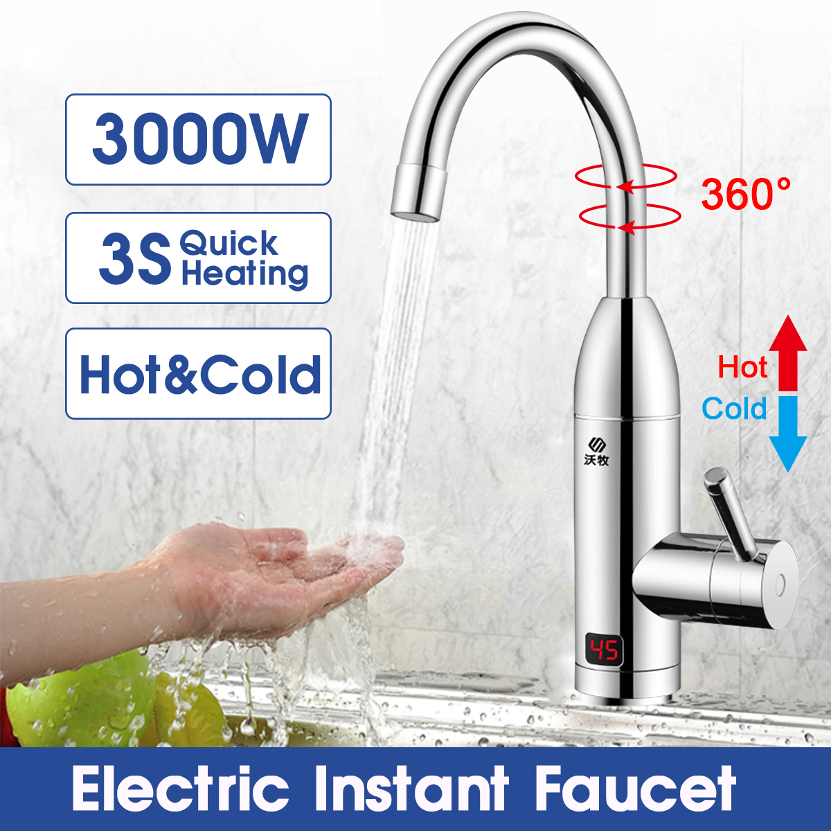 Electric Faucet Instant Water Heater Tap Faucet Heater Heating Faucet Tankless Instantaneous Water Heater Kitchen Faucet Kitchen