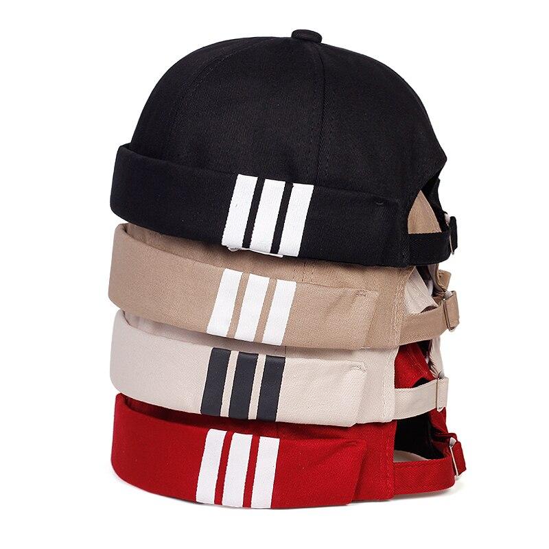 2020 New Fashion Non-brimmed Hat Unisex Wild Melon Leather Hat Fashion Retro Striped Painter Hat Fashion Hip-hop Hats
