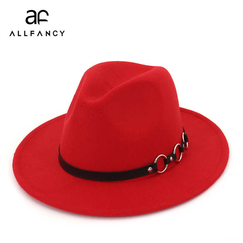 ALLFANCY الأوروبية والأمريكية الشتاء قبعة السيدات الرجال قبّعة مسطّحة شهم الجاز قبعة كبيرة قبعة الخريف الكلاسيكية واسعة قبعة لها حواف