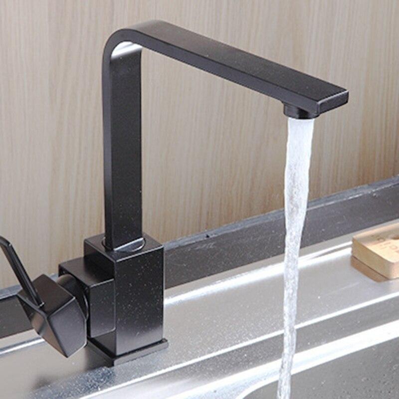 Nouveau noir carré robinets de cuisine 360 degrés Rotation filtre à eau robinet robinets d'eau solide cuivre évier robinet mélangeur d'eau avec tuyau