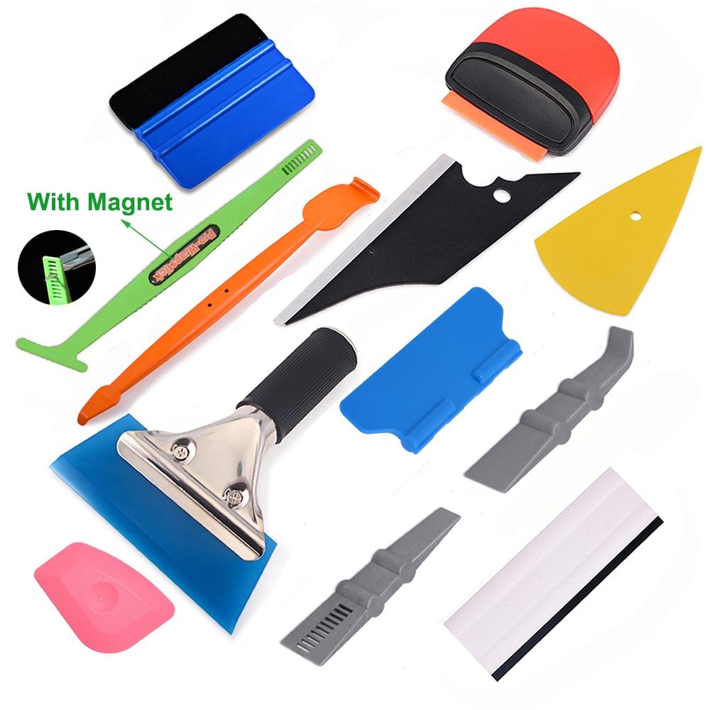 Car Vinyl Wrap Set Tuck Tool Micro Squeegee Felt Razor Scraper 10 Blade Removal