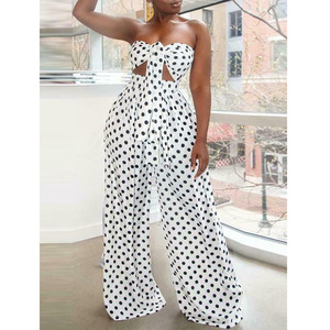 Image 2 - 2 Piece Outfits for Women Polka Dot Knot Front Strapless Bandeau Crop Top Wide Leg Long Pants Summer Beach Jumpsuits
