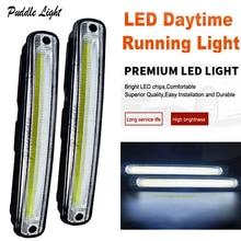цена на Universal Hot Ultra Bright 12W COB Daytime Running light Waterproof Day time Lights LED Car DRL Driving lamp LED light bar 2pcs