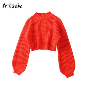 Artsnie Winter Turtleneck Sweater Women Lantern Sleeve Warm Pull Femme Hiver Sweet Red Knitted Cropped Sweaters Jumper Female
