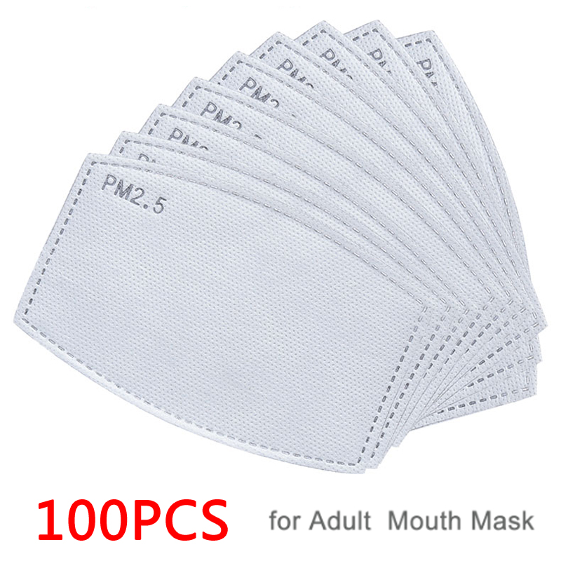 100PCS Hot Sale PM2.5 Filter Paper Anti Haze Mouth  Anti Dust Mask Activated Carbon Filter Paper Health Care
